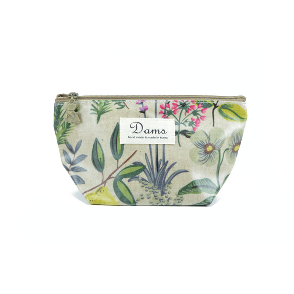 Dams Floral Cosmetic Makeup Bag in leafy green print