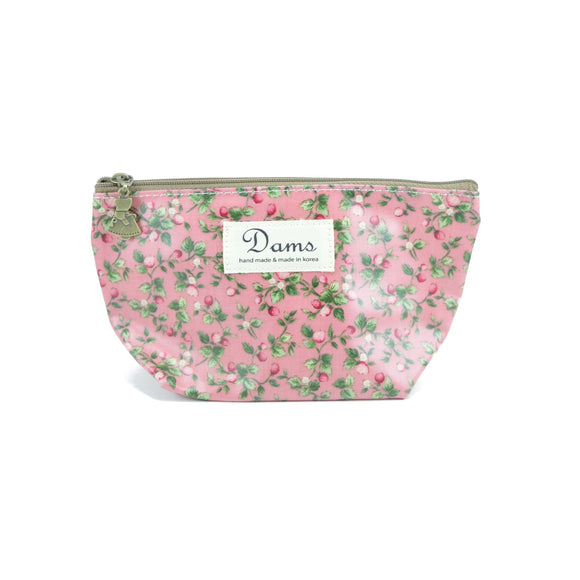 Dams Cosmetic Makeup Bag in peachy pink print