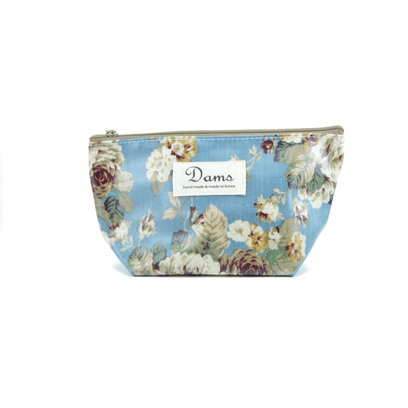 Dams Cosmetic Makeup Bag in cool blue floral print