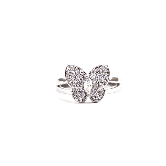 Crystal Butterfly Pinky Ring