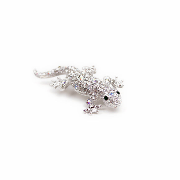 Crystal Lizard Brooch Pin (White)
