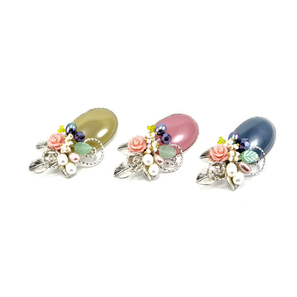 Natural Pearl Floral Bead Brooch Pin (3 Colours)