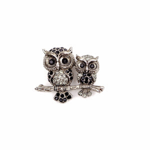 Owl Pair Rhinestone Brooch Pin (Black)