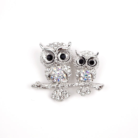 Owl Pair Rhinestone Brooch Pin (White)