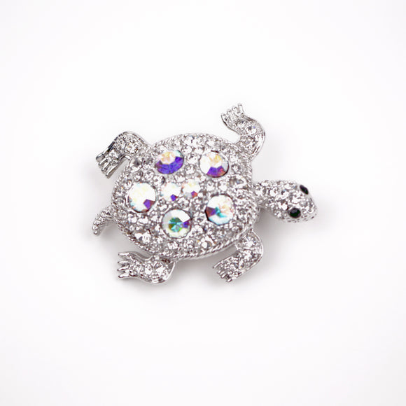 Crystal Turtle Brooch Pin (White)