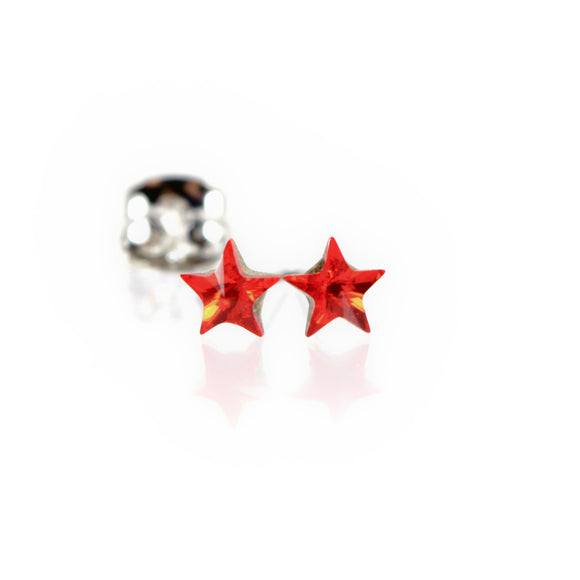 Star Stud Earrings with Red Swarovski Crystal Elements