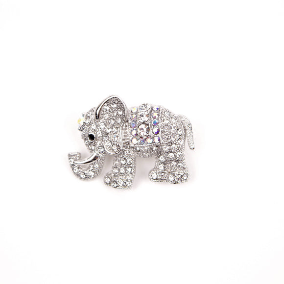 Crystal Elephant Brooch Pin (White)