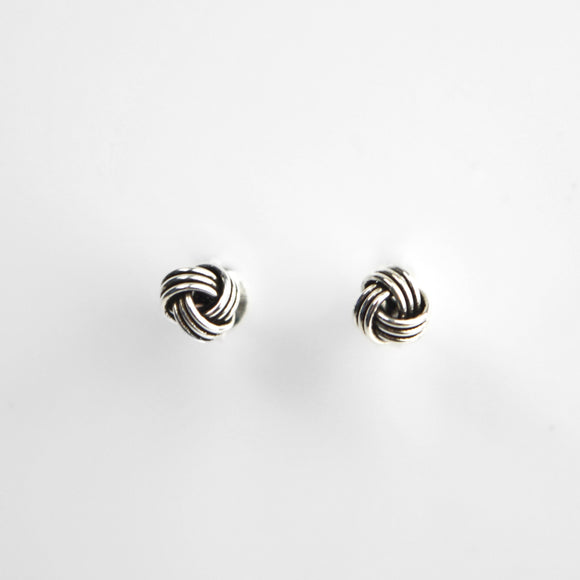 Oxidised Silver Knot Stud Earrings