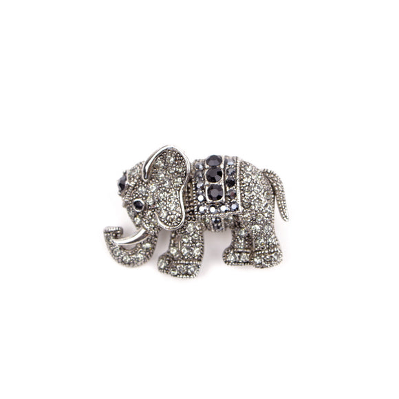 Crystal Elephant Brooch Pin (Black)