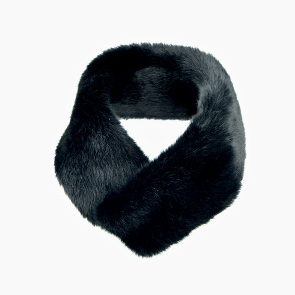 Mink Faux Fur Neck Wrap Styling Scarf (Black)