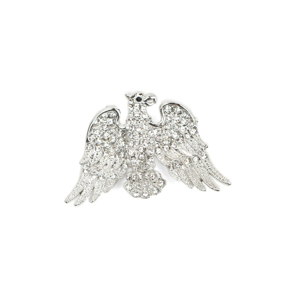 Bald Eagle Crystal Brooch Pin (White)