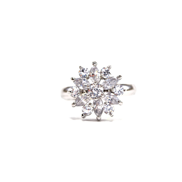 Cubic Zirconia Flower Expandable Band Ring