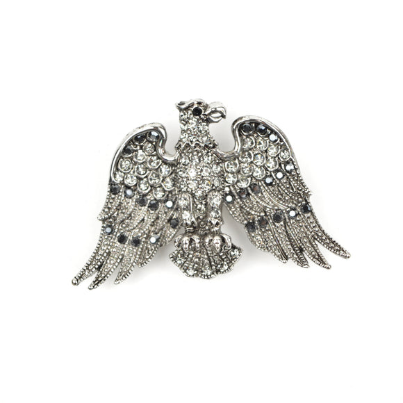 Bald Eagle Crystal Brooch Pin (Black)