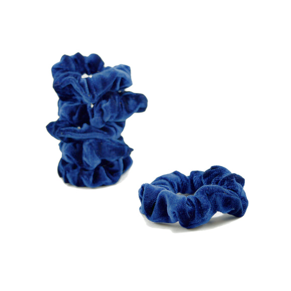 Five Small Velvet Scrunchies (Blue)