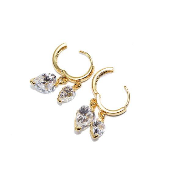 Heart Shaped Cubic Zirconia Crystal Hoop Earrings