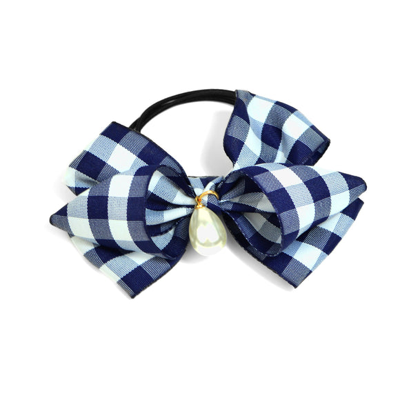 Pearl Teardrop and Gingham Bow Hair Tie (Blue)