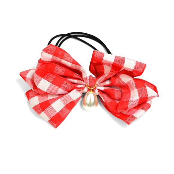 Pearl Teardrop and Gingham Bow Hair Tie (Red)