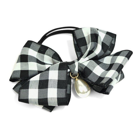 Pearl Teardrop and Gingham Bow Hair Tie (Black)