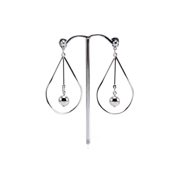 Geometric Silver Teardrop Dangle Earrings