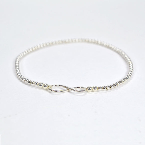 Sterling Silver Bead Bracelet with Infinity Charm