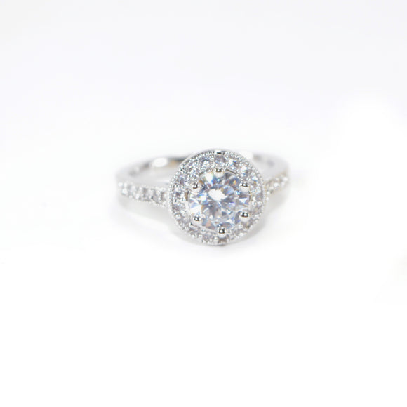 Brilliant Cubic Zirconia Halo Pave Ring Silver