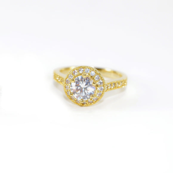 Brilliant Gold-Tone Cubic Zirconia Halo Pave Ring