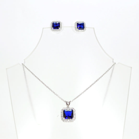 Square Cubic Zirconia Jewellery Set (Necklace and Earrings)(Blue)