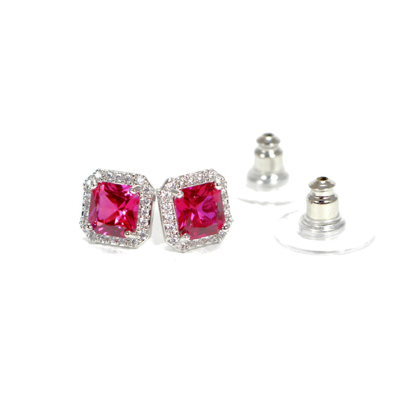 Red Cushion Cut Cubic Zirconia Crystal Stud Earrings