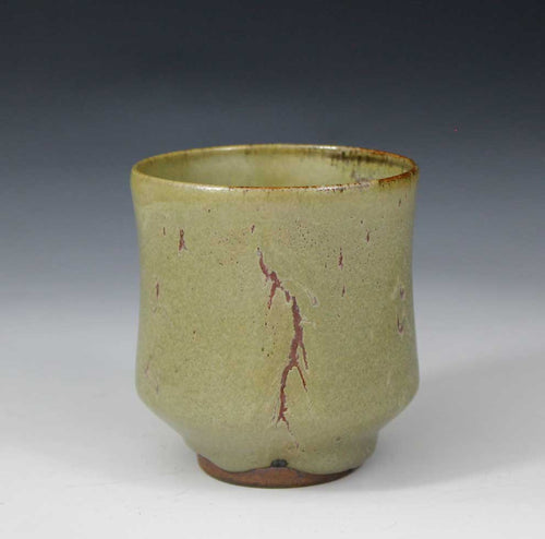 STUDIO POTTERY YUNOMI / TEA BOWL - CELADON + COPPER RED GLAZE - PETER SPARREY