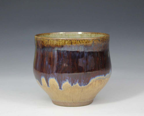 STUDIO POTTERY STONEWARE YUNOMI / RUTILE + COPPER RED GLAZE - PETER SPARREY