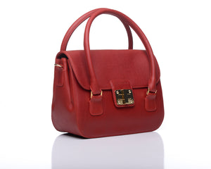 Catherine satchel - Cerise leather