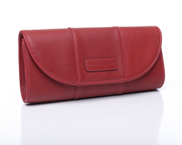Rebecca clutch - Cerise leather