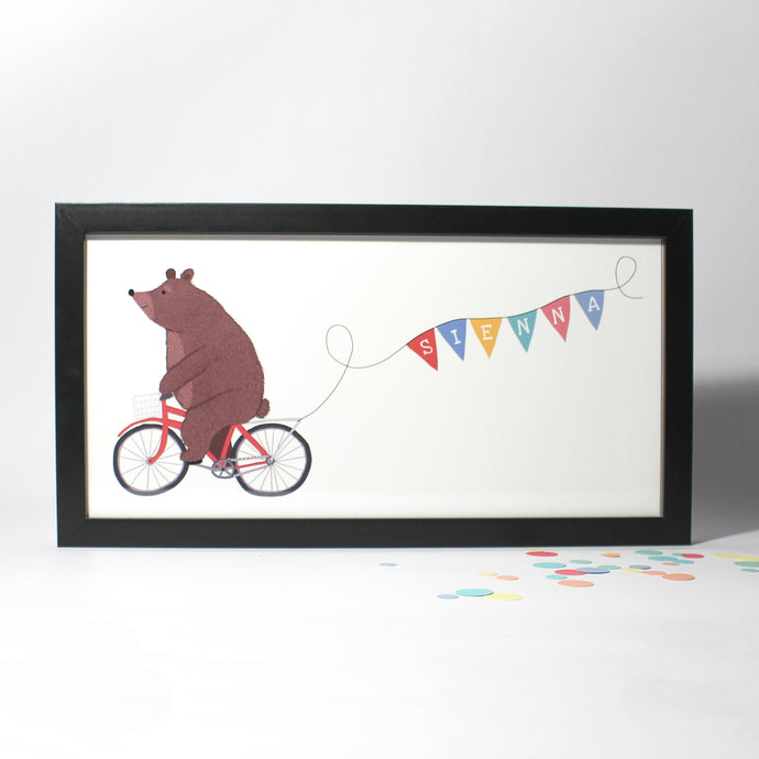 Personalised Bear on a Bicycle Framed Print