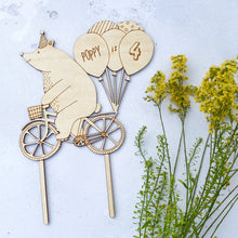 Load image into Gallery viewer, Personalised Birthday Bear on a Bike Wooden Cake Topper