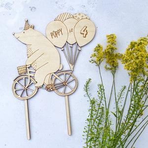 Personalised Birthday Bear on a Bike Wooden Cake Topper