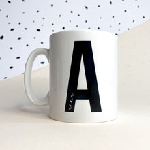 Load image into Gallery viewer, Personalised Black and White Letter and Name Mug