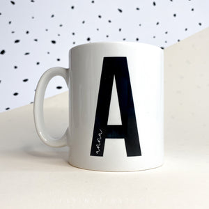 Personalised Black and White Letter and Name Mug