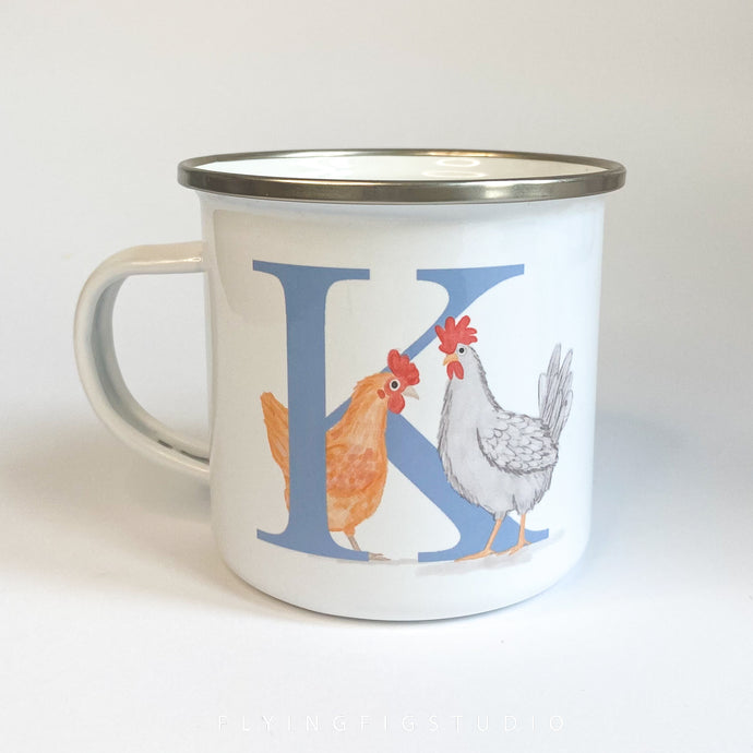 Letter Chicken Illustration Enamel Mug