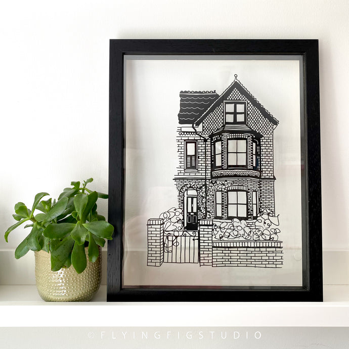 Framed Custom House Illustration Papercut