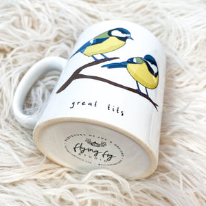 Great Tits Illustration Mug