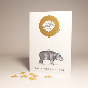 Personalised Hippopotamus Secret Message Card