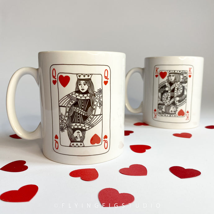 King or Queen of Hearts Plain or Personalised Ceramic Mugs