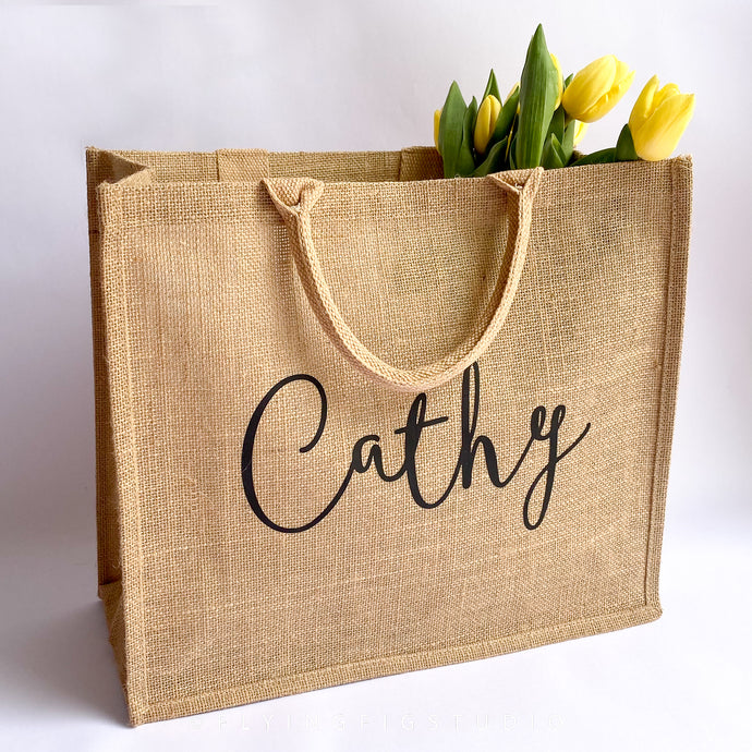 Large Personalised Jute Bag