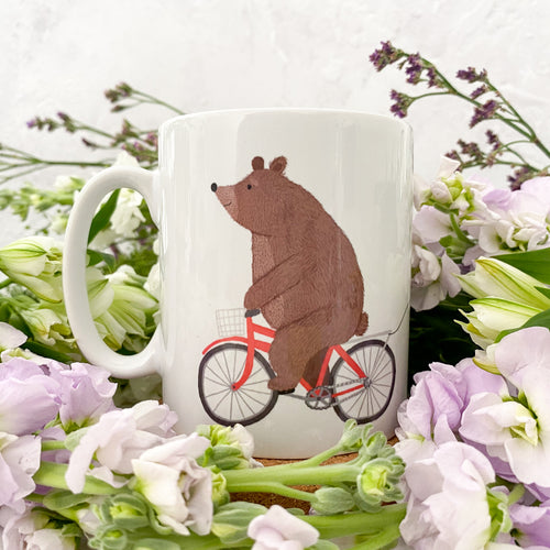 Personalised Bear on a Bicycle Ceramic Mug