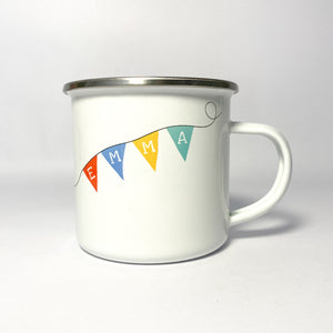 Personalised Bear on a Bicycle Enamel Mug
