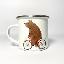 Load image into Gallery viewer, Personalised Bear on a Bicycle Enamel Mug