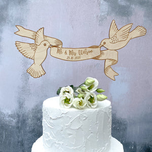 Personalised Wooden Engraved Floating Birds Wedding Cake Topper and Magnet