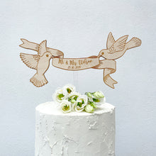 Load image into Gallery viewer, Personalised Wooden Engraved Floating Birds Wedding Cake Topper and Magnet