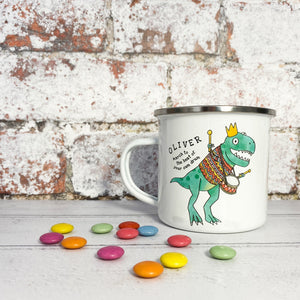 Personalised 'March to the Beat of Your Own Drum' Illustrated Dinosaur Enamel Mug