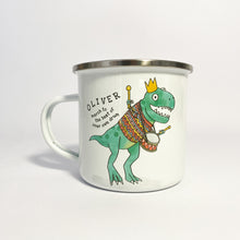 Load image into Gallery viewer, Personalised 'March to the Beat of Your Own Drum' Illustrated Dinosaur Enamel Mug